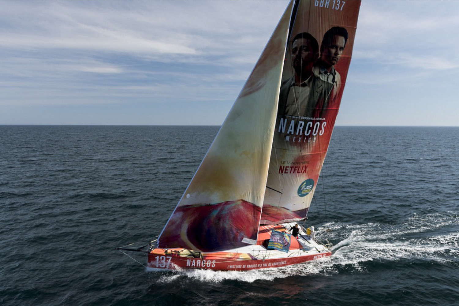 Class 40 Netflix Narcos Sailing With Digitally Printed Yacht Hull Wrap And Digitally Printed Vinyl Wrap Sails